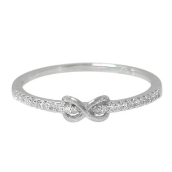 Rhodium plated on Sterling Silver, infinity style ring with faceted stones. Approximate size: 3mm width